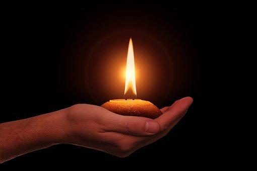 Hand, Kerze, Diwali, Lichterfest